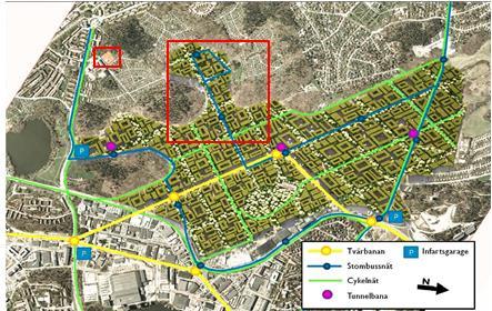 Fotomontage på Miljöpartiets förslag på byggnation av Bromma flygplats 2014