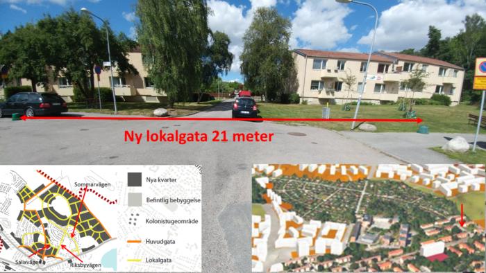 Flera bostadshus utefter Kvarnbacksvägen måste rivas för att ge plats åt lokalgator som ska gå in i mot det nya området Norra Riksby. Foto och bildbearbetning: Mikael Ljung.