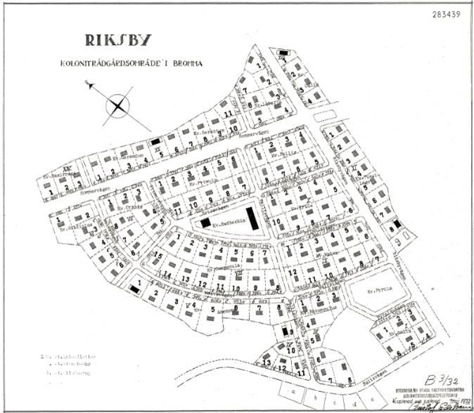 Stadsplanen över Riksby koloniförening från 1930-talet.