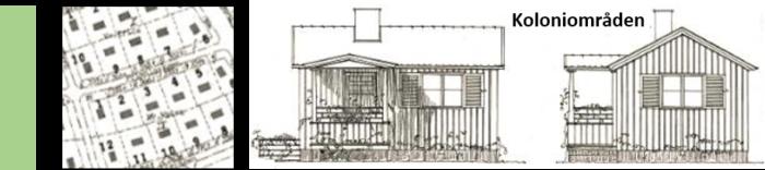 Bilden visar en karta från Riksby koloniområde och en arkitektritning av en stuga från två olika vinklar. Bilden är ett fotomontage av Mikael Ljung (2018).